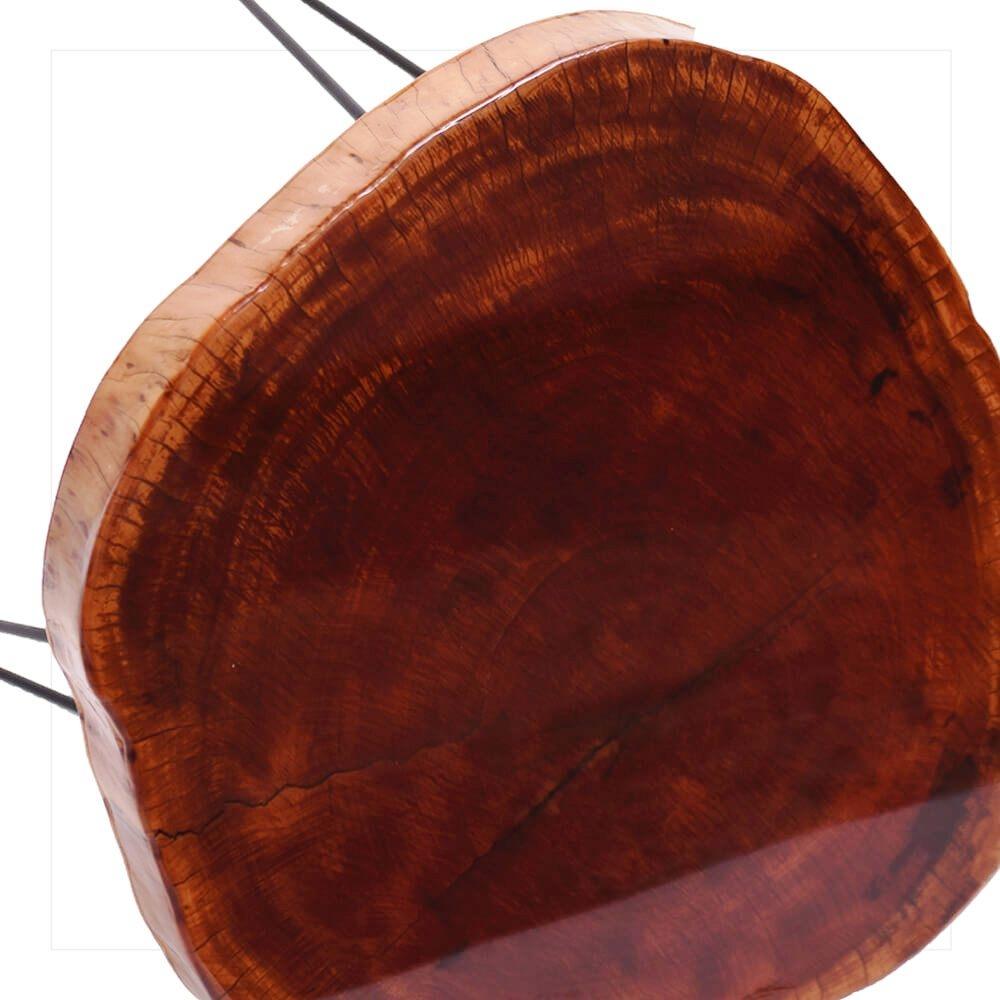 Mesa Resinada de Centro/ Cabeceira CARDIFF - Madeira Maciça e Pés de ferro Diâmetro 58 CM